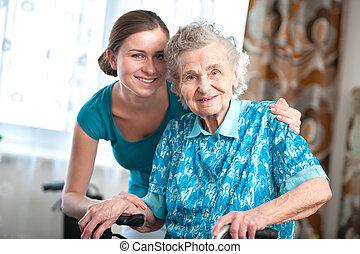 oude vrouw, met, huis caregiver