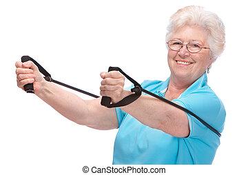 oude vrouw, op, gym