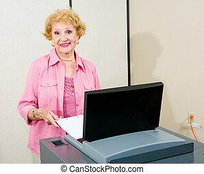 oude vrouw, op, polls