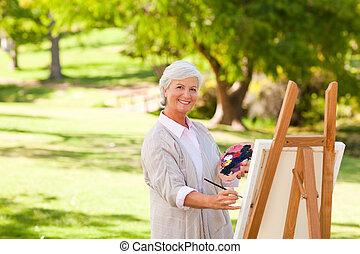 oude vrouw, schilderij, in het park
