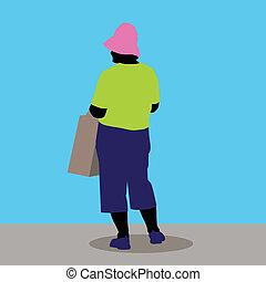 oude vrouw, shoppen