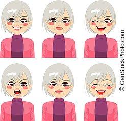 oude vrouw, uitdrukkingen, gezicht