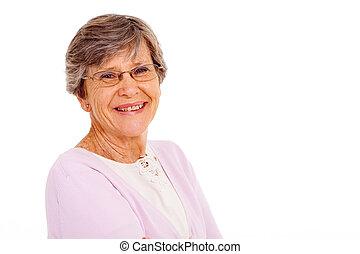 oude vrouw, vrijstaand, op wit