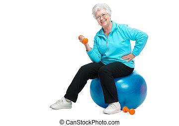 oude vrouw, werkende , met, gewichten, in, gym