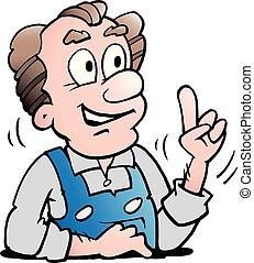 ouder, arbeider, illustratie, vector, senior, spotprent