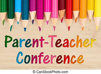 ouder, conferentie, leraar, boodschap