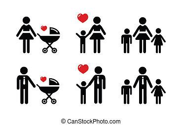 ouder, gezin, iconen, -, meldingsbord, enkel