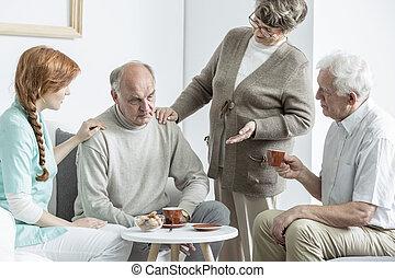 ouder, op, verpleeghuis