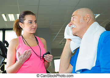 oudere man, het zweten, na, de, oefening
