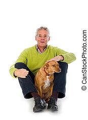 oudere man, met, dog