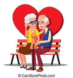 oudere paar, het koesteren, op de bank, met, groot, rood hart, vector., illustratie