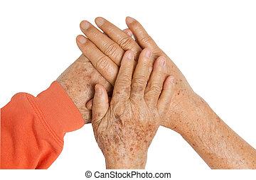 oudere paar, holdingshanden