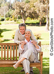oudere paar, park