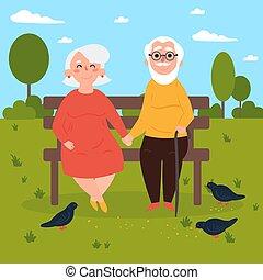 oudere paar, verliefd, op, bankje, outdoors., duiven