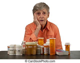 oudere vrouw, met, medicatie