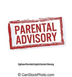 ouderlijk, advisory., rood, stoppen, teken., leeftijd, beperking, stamp., inhoud, voor, volwassenen, only., vrijstaand, op wit, achtergrond., vector, illustratie