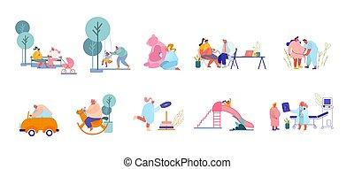 ouders, bezoeken, mannelijke , karakters, playground., arts, spelend, voorbereiden, kind, set, vrouwlijk, kinderen, vrouwen, geboorte