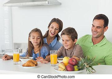 ouders, kinderen, ontbijt, hebben