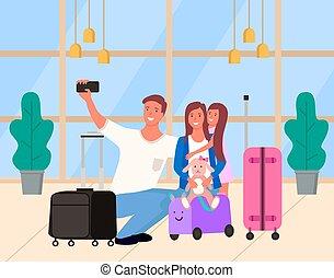 ouders, selfie, vector, dochter, luchthaven