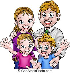 ouders, spotprent, kinderen