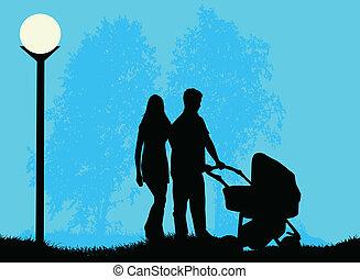 ouders, wandelende, kinderwagen, kind