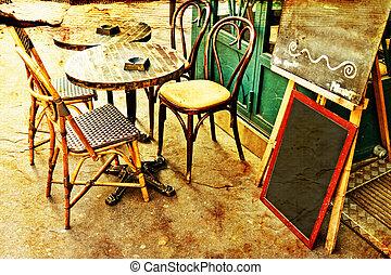 ouderwets, koffiehuis, terras