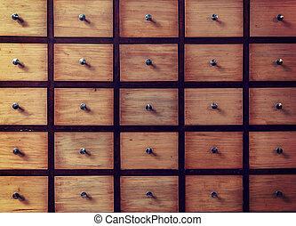 ouderwets, opslag, bibliotheek, kabinet, bestand, catalog., kaart