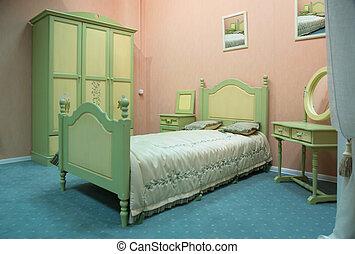 ouderwets, stijl, slaapkamer