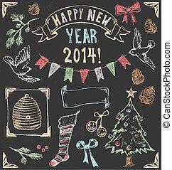 ouderwetse , 2, set, kerstmis, chalkboard