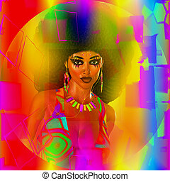 ouderwetse , abstract, afro., retro