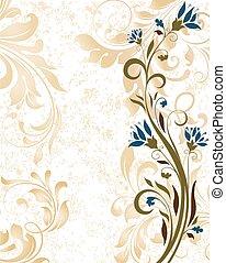 ouderwetse , abstract, sierlijk, elegant, ontwerp, retro, uitnodiging, floral, kaart