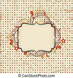 ouderwetse , achtergrond, met, floral, frame, voor, tekst