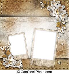 ouderwetse , achtergrond, met, frame, en, bloemen, voor,...