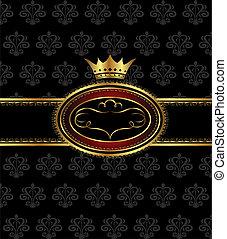 ouderwetse , achtergrond, met, heraldisch, kroon