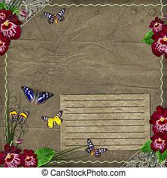 ouderwetse , achtergrond, met, orchids, voor, jouw, tekst