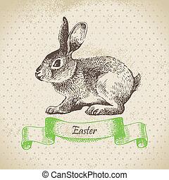 ouderwetse , achtergrond, met, pasen, rabbit., hand,...