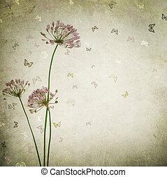ouderwetse , achtergrond, mooi, floral