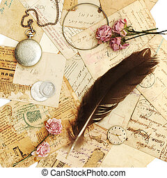 ouderwetse , achtergrond, plakboek