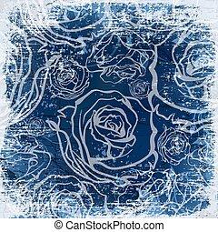 ouderwetse , achtergrond, rozen