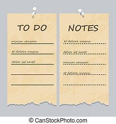 ouderwetse , afgescheurde, lijst, opmerkingen, pagina's