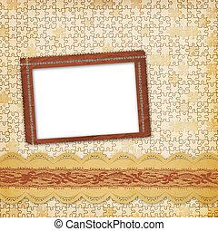 ouderwetse , album, met, frame, en, sierlijk, kant