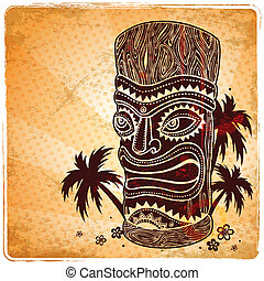 ouderwetse , aloha, illustratie, tiki
