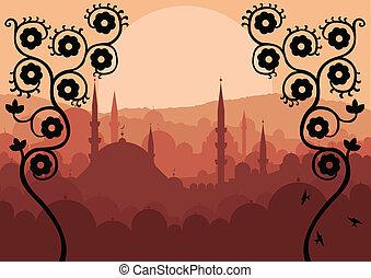 ouderwetse , arabische , landscape, achtergrond, stad