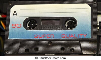 ouderwetse , audiocassetteband, met, een, leeg, witte ,...