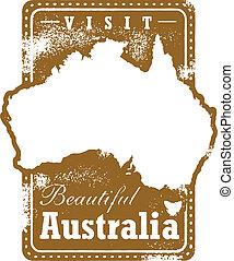 ouderwetse , australië, reizen, postzegel