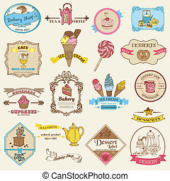 ouderwetse , bakkerij, en, dessert, etiketten, -, voor, ontwerp, en, plakboek, -, in, vector