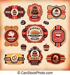 ouderwetse , bakkerij, etiketten, set