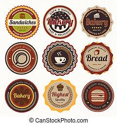 ouderwetse , bakkerij, set, kentekens, labels.