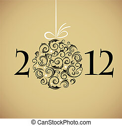 ouderwetse , bal, retro, versieringen, kerstmis