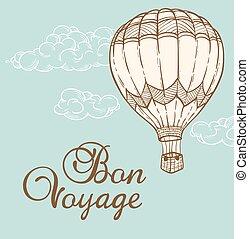 ouderwetse , balloon, achtergrond, lucht